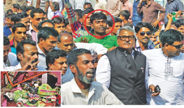 Mithu, one of the men alleged to have vandalised over 100 Hindu houses and temples, inset, at Bonogram in Santhia of Pabna on Saturday, is seen behind State Minister for Home Shamsul Hoque Tuku when he visited the area yesterday. Photo: Rashed Shumon